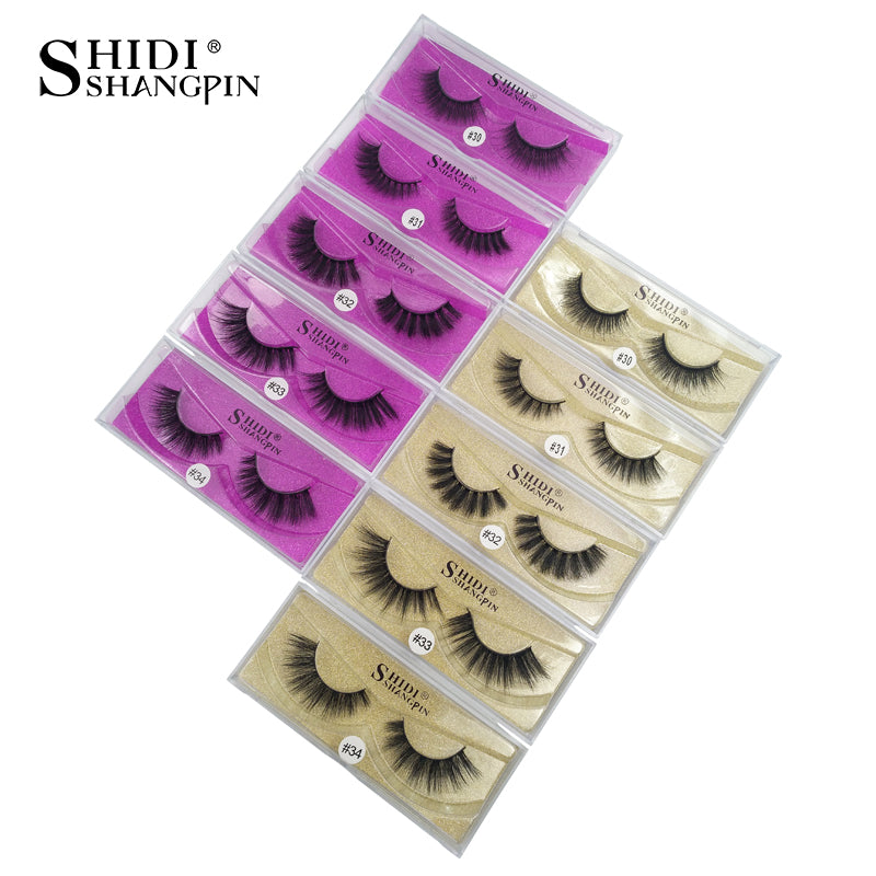 SHIDISHANGPIN 1 pair mink eyelashes natural long makeup false lash 3d mink lashes full strip lashes 1 pair eyelashes 1cm-1.5cm