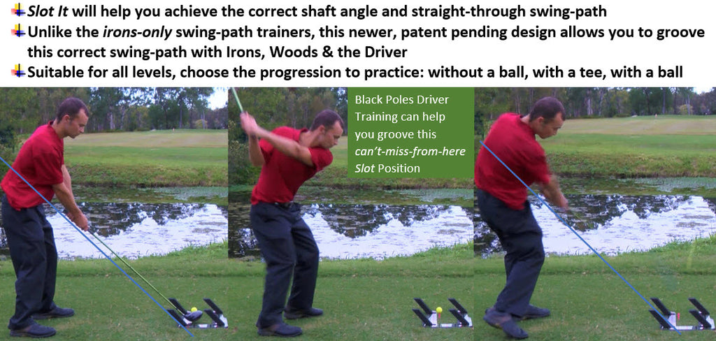 Using Slot It Golf black poles to groove a better driver swing-path
