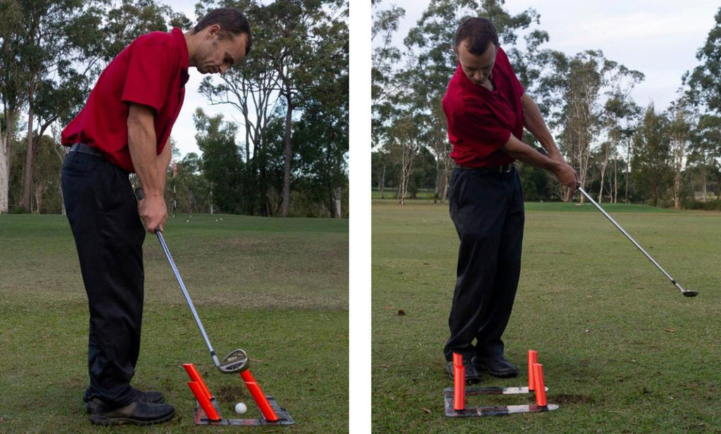 Chipping with the slot it golf swing trainer