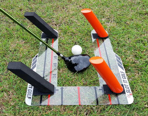 Slot It Golf Trainer set up for 3 wood practice