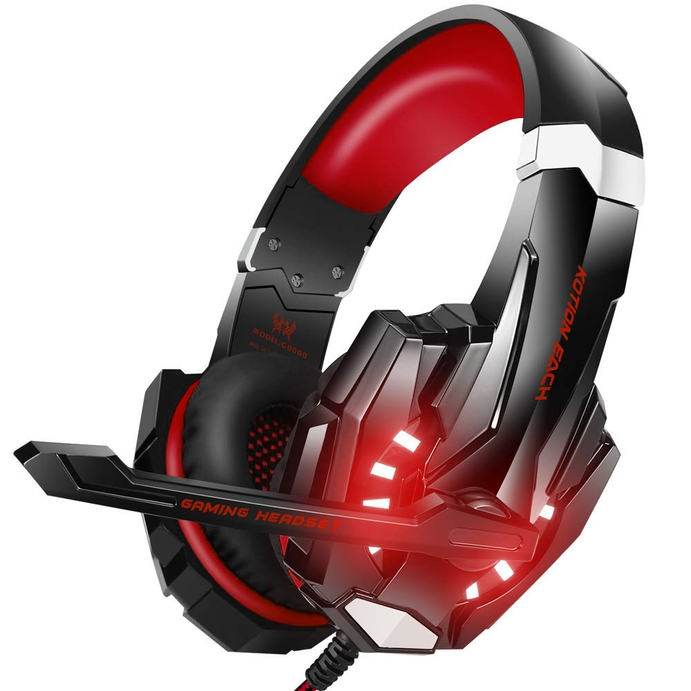 BENGOO G9000 Stereo Gaming Headset for PS4, PC, Xbox One Controller, Noise  Cancelling Over Ear Headphones with Mic, LED Light, Bass Surround, Soft