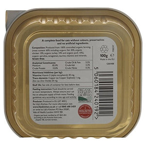 Lily's Kitchen Proper Cat Food Organic Dinner with Fish - Foil Tray (100g) - Pack of 6