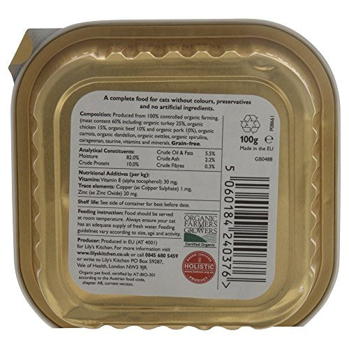 Lily's Kitchen Proper Cat Food Organic Dinner with Turkey - Foil Tray (100g) - Pack of 6