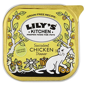 Lily's Kitchen Proper Cat Food Organic Dinner with Chicken - Foil Tray (100g) - Pack of 6