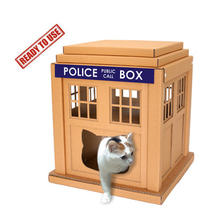 Dr Who Tardis Cardboard Cat House – Ready to Use