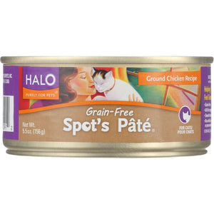Halo Spot's Pate Grain-Free Ground Chicken - 5.5 Oz - Case Of 12