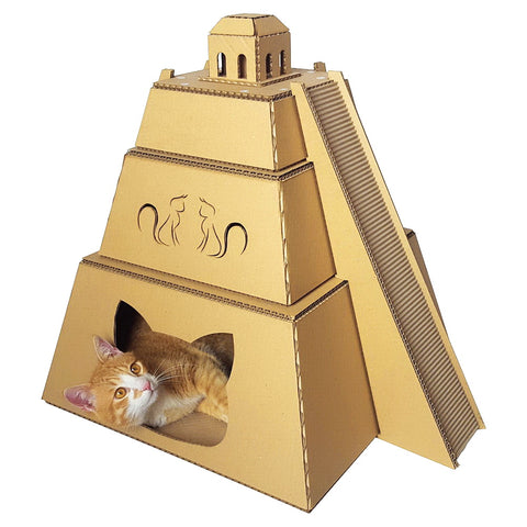 Mayan Pyramid Cardboard Cat House