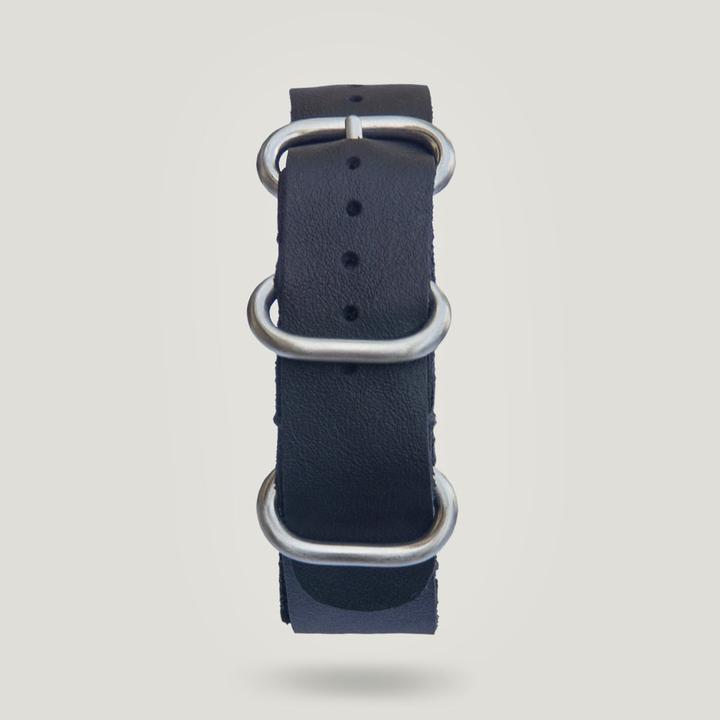 Leather Strap in Black- 20mm