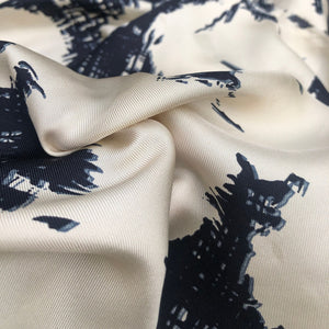 42 Cream White & Dark Blue 100% Silk Twill Print Light Woven Fabric By the Yard