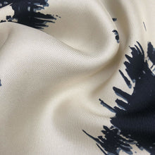 Load image into Gallery viewer, 42 Cream White & Dark Blue 100% Silk Twill Print Light Woven Fabric By the Yard