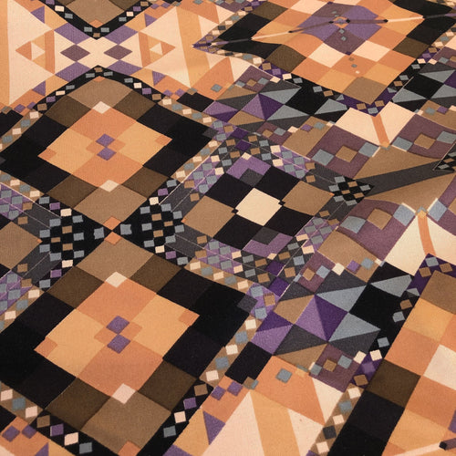 46 100% Silk Print Interlock Multicolor Brown Beige & Black Knit Fabric By the Yard - Fabric