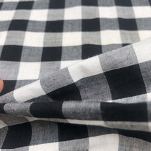 Load image into Gallery viewer, 46 Black White & Gray 100% Cotton Checkered Woven Fabric By the Yard