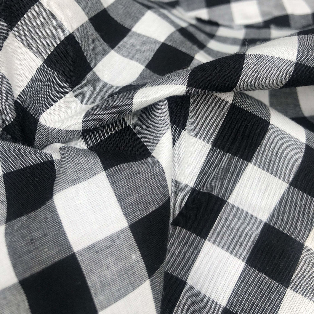 46 Black White & Gray 100% Cotton Checkered Woven Fabric By the Yard