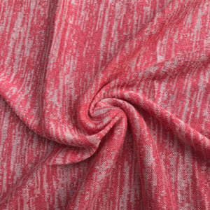 "46"" Pink & White 100% Acrylic Space Dye Striped Jersey Loose Knit Fabric By Yard - APC Fabrics"