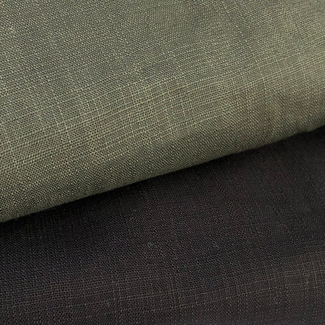 48 Cotton Spandex Lycra Stretch Blend Like-Linen Army Green & Black Woven Fabric By the Yard - Fabric