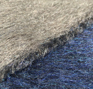 50 Cashmere Wool Blue & Gray Double Faced Furry Heavy Woven Fabric By Half Yard