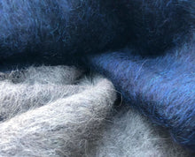 Load image into Gallery viewer, 50 Cashmere Wool Blue & Gray Double Faced Furry Heavy Woven Fabric By Half Yard