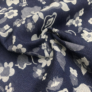52 Blue & White Cotton Denim Double Faced Floral Jacquard Woven Fabric By Yard