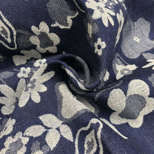 Load image into Gallery viewer, 52 Blue & White Cotton Denim Double Faced Floral Jacquard Woven Fabric By Yard