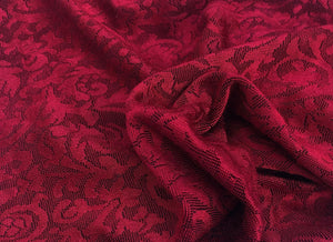 "52"" Red Rayon Spandex Stretch Blend Floral Jacquard Knit Fabric By the Yard - APC Fabrics"