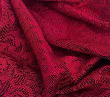 "Load image into Gallery viewer, 52"" Red Rayon Spandex Stretch Blend Floral Jacquard Knit Fabric By the Yard - APC Fabrics"