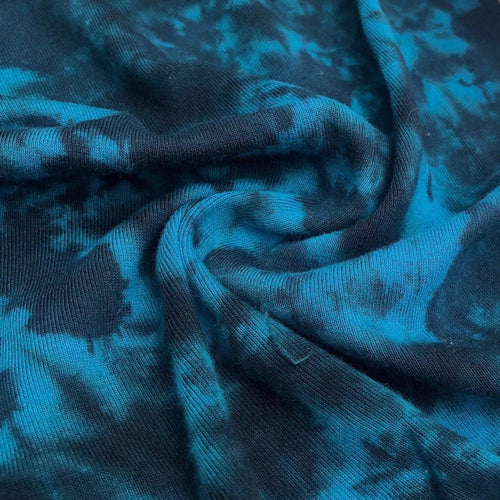 54 Aqua Blue & Black 100% Cotton Jersey Tie Dye Knit Fabric By the Yard