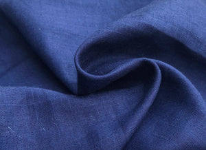54 Blue Linen Flax Rayon Blend Lithuanian Woven Fabric By the Yard