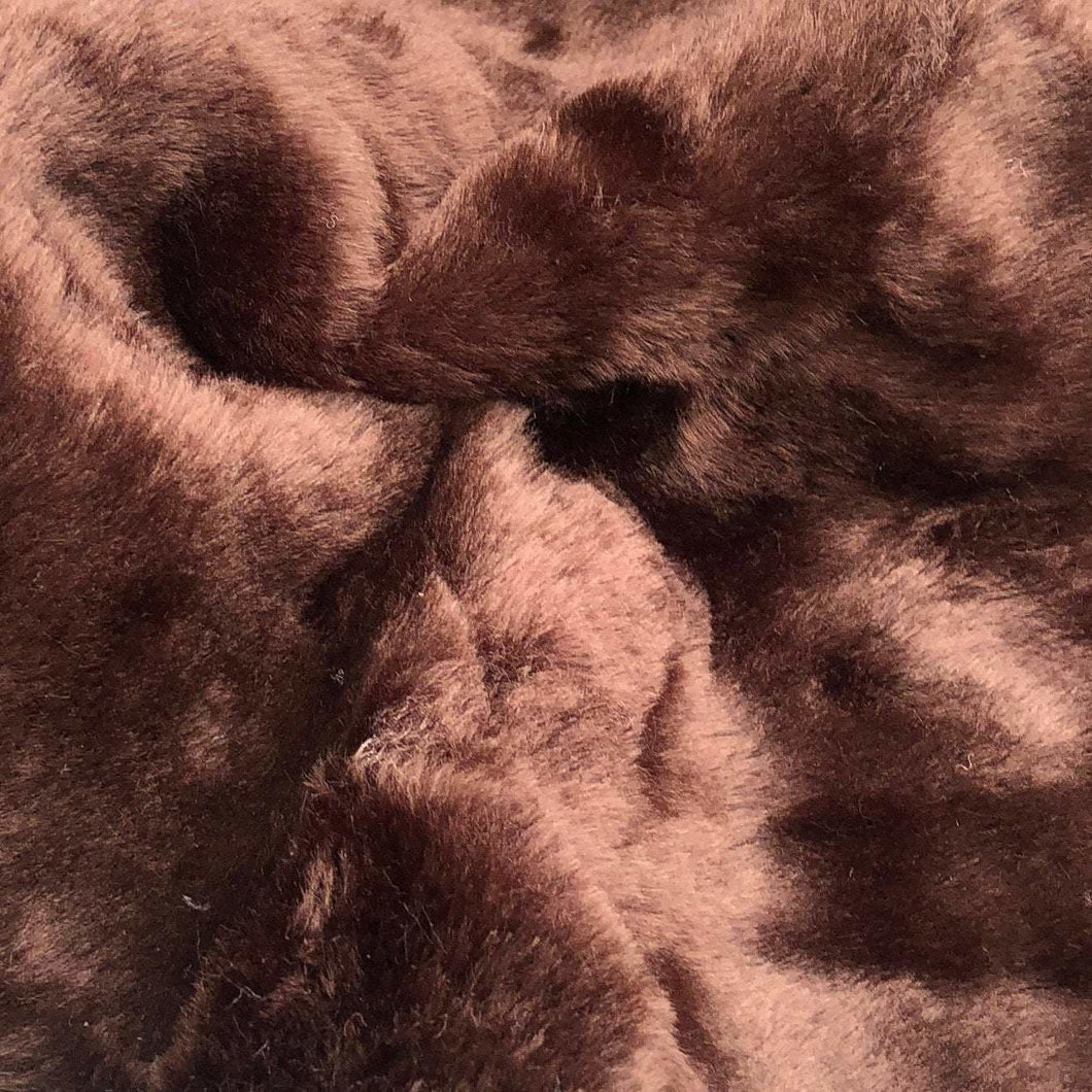 54 Dark Brown Imitation Bear Fur Skin Heavy Weight Woven Fabric By the Yard