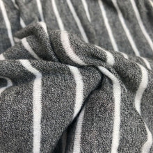 "Load image into Gallery viewer, 54"" Rayon Spandex Blend Fleece Heather Gray & White Striped Knit Fabric By Yard - APC Fabrics"