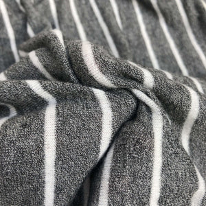 54 Rayon Spandex Blend Yarn Dyed Fleece Heather Gray & White Striped Knit Fabric By the Yard - Fabric