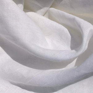 "55"" Optic White 100% Linen Mercerized Flax Lithuanian Woven Fabric By the Yard - APC Fabrics"