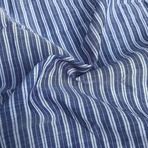 56 100% Cotton Striped Yarn Dyed Blue & White Light Woven Fabric By the Yard - Fabric