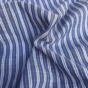 "56"" 100% Cotton Striped Yarn Dyed Blue & White Light Woven Fabric By the Yard - APC Fabrics"