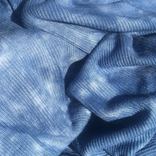 Load image into Gallery viewer, 56 Denim Ocean Blue Tie Dye Rayon Spandex Stretch Rib Knit Fabric By the Yard