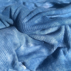 56 Denim Ocean Blue Tie Dye Rayon Spandex Stretch Rib Knit Fabric By the Yard