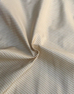 56 Gold Yellow White 100% Silk Striped Light Woven Fabric By the Half-Yard