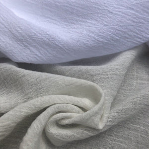 "56"" Off White Ivory & White 100% Cotton Gauze Wrinkly Woven Fabric By the Yard - APC Fabrics"