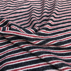 "56"" Rayon Spandex Stretch Blend Striped Print Hatchi Brushed Knit Fabric By Yard - APC Fabrics"