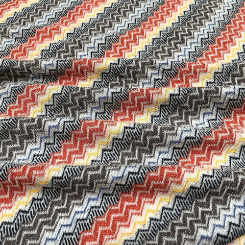 58 100% Cotton Chevron Zigzag Laundered Multicolor Knit Fabric By the Yard - Fabric
