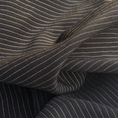 58 Black & White Cotton Lyocell Tencel Blend Striped Woven Fabric By the Yard