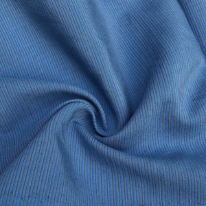 "58"" Cotton Lyocell Tencel Blend Striped Ocean Blue Woven Fabric By the Yard - APC Fabrics"