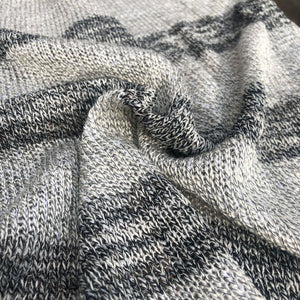 "58"" Dark & Light Gray Striped 100% Acrylic Sweater Heavy Knit Fabric By the Yard - APC Fabrics"
