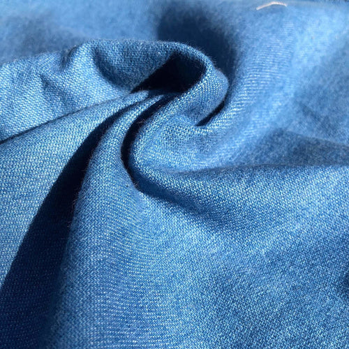 58 Denim Blue Cotton Blend Heavy Woven Fabric By the Yard