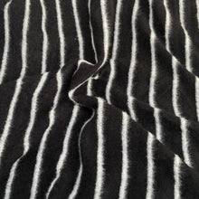 Load image into Gallery viewer, 58 Modal Blend Warm Sweater Fleece Striped Black & Gray Knit Fabric By the Yard - Fabric