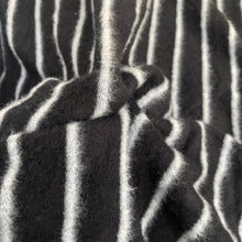 "Load image into Gallery viewer, 58"" Modal Blend Warm Sweater Fleece Striped Black & Gray Knit Fabric By the Yard - APC Fabrics"