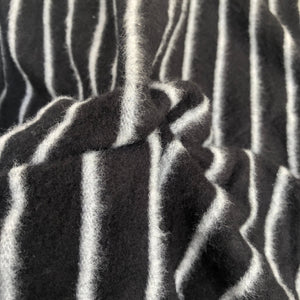 58 Modal Blend Warm Sweater Fleece Striped Black & Gray Knit Fabric By the Yard - Fabric