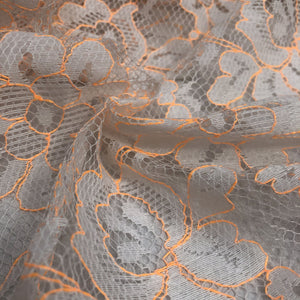 "58"" Orange & White Floral Flower Fabric Mesh Net Sheer Woven Fabric By the Yard - APC Fabrics"