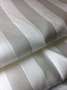 "58"" PFD White Striped Lyocell Tencel Satin Light Weight Woven Fabric By the Yard - APC Fabrics"