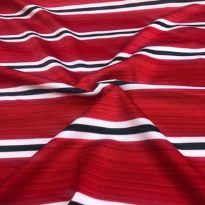 "58"" Red Black & White Coral Snake Striped Spandex Blend Knit Fabric By the Yard - APC Fabrics"