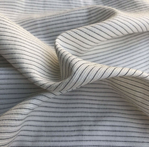 58 White & Black Cotton Lyocell Tencel Blend Striped Woven Fabric By the Yard